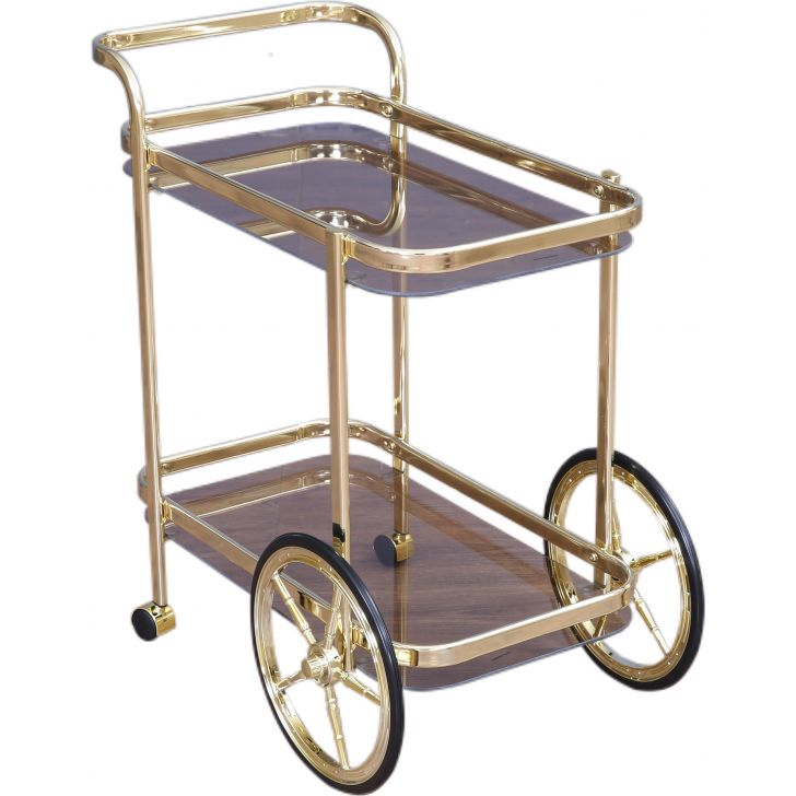 Blaze Metal Serving Trolley in Gold Colour