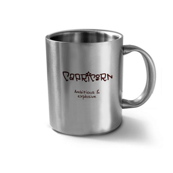 Hot Muggs Capricorn Personality Stainless Double Walled Mug Stainless steel Coffee Mugs in Silver Colour by HotMuggs