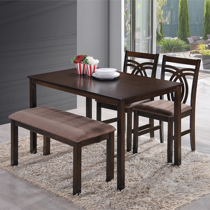 Stella Solid Wood Four Seater Dining Set in Dark Walnut Colour by HomeTown