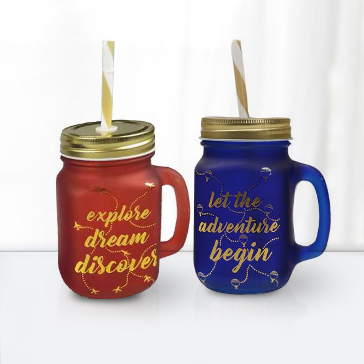 Love To Travel Golden Mason Jars Set Of 2 T & B Glass Mason Jars in Orange,Blue & Gold Colour by HomeTown