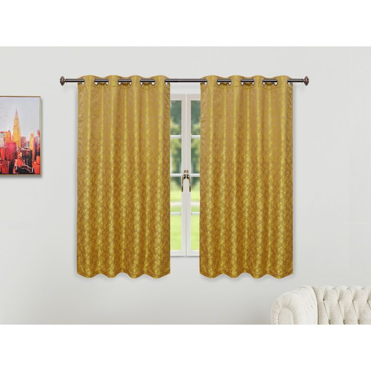 Emilia Jacquard Set of 2 Polyester Window Curtains in Citron Colour by Living Essence