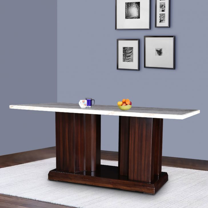 Elanor Solid Wood Six Seater Dining Table in Walnut & Beige Colour