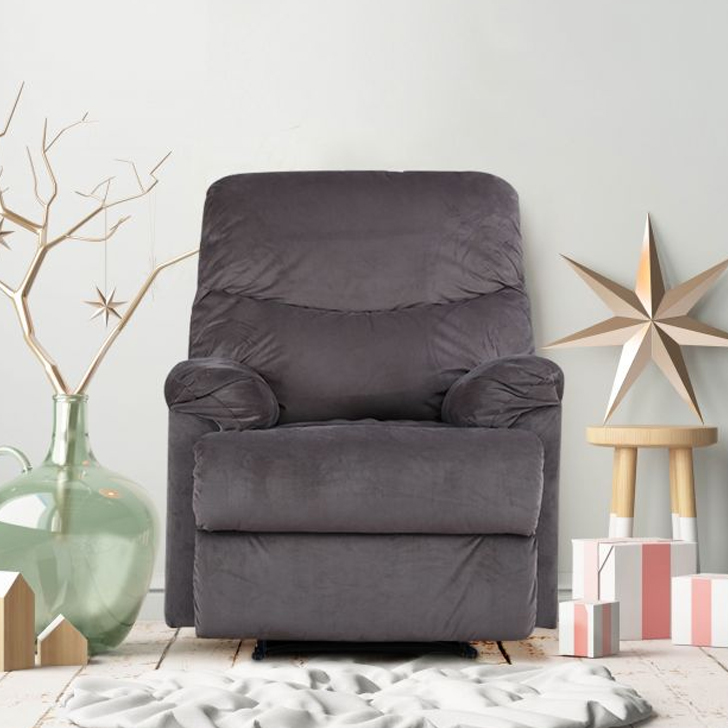 Daniel Fabric Single Seater Recliner in Mocha Colour by HomeTown