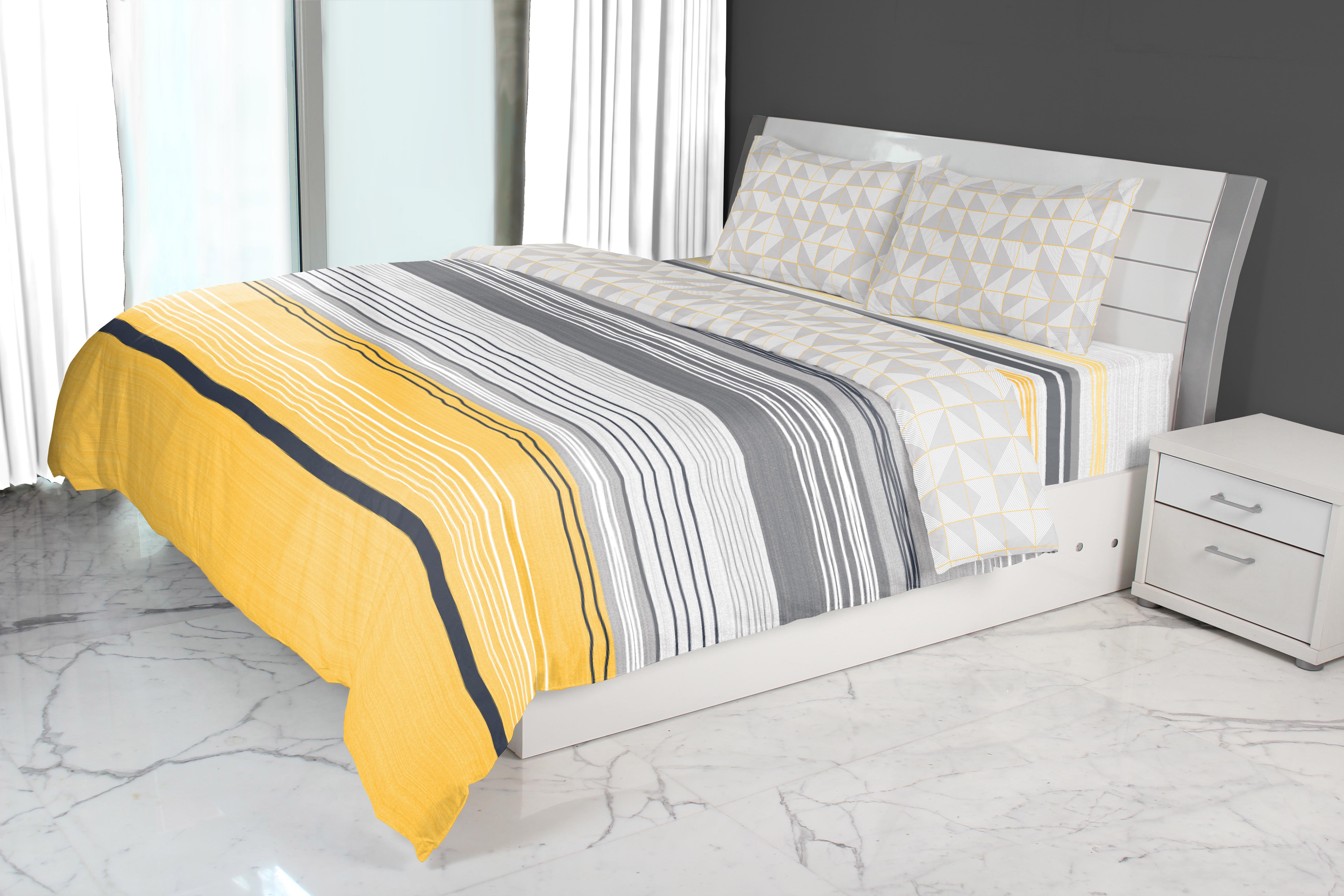 Emilia Double Comforter Grey Yellow Cotton Comforters in Grey Yellow Colour by Living Essence