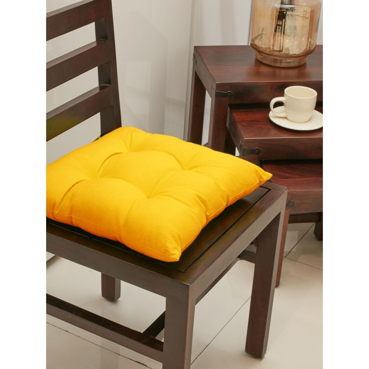 Modern Cotton Chair Pads in Mustard Colour by Living Essence