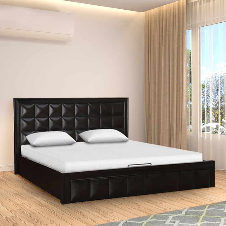 Imperial Rubber Wood Hydraulic Storage King Size Bed in Walnut Colour by HomeTown