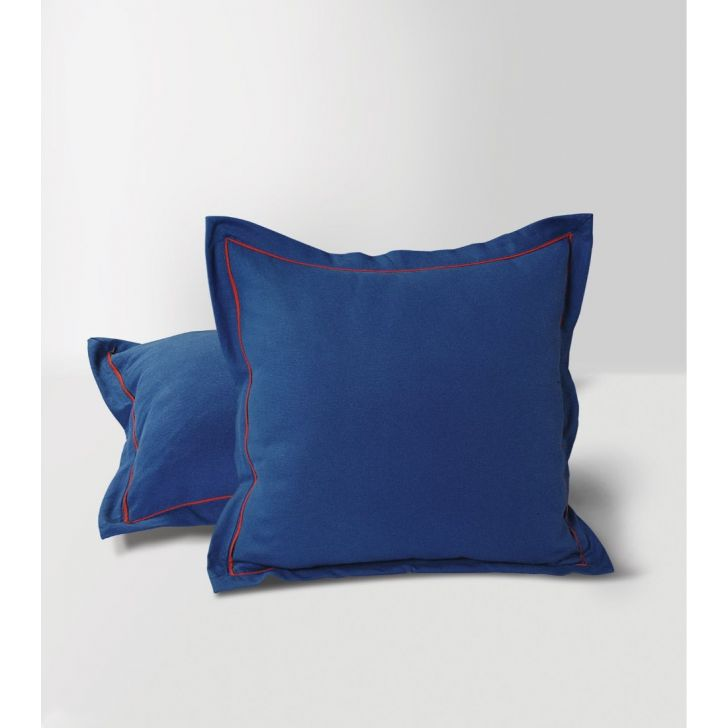 Solid Duck Fabric Cushion Cover 60X60 CM in Blue Colour by Swayam