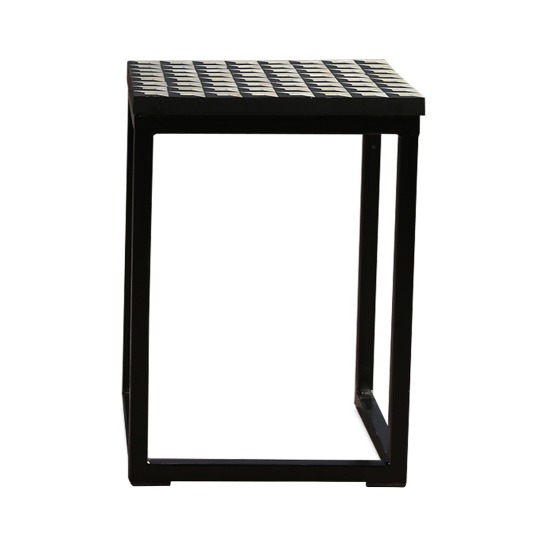 Aida Solid Wood Outdoor Table in Black & White Colour by HomeTown