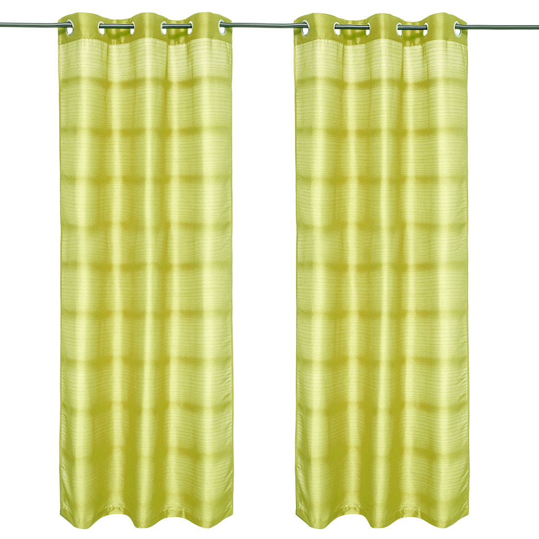 Fiesta Solid set of 2 Polyester Window Curtains in Citron Colour by Living Essence