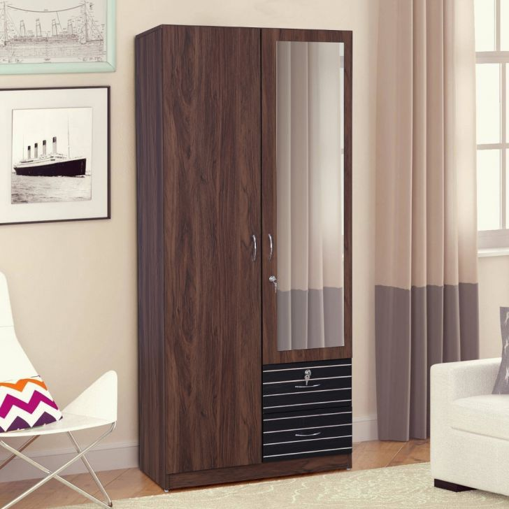 Molly Engineered Wood Two Door Wardrobe in Multi Color Colour by HomeTown