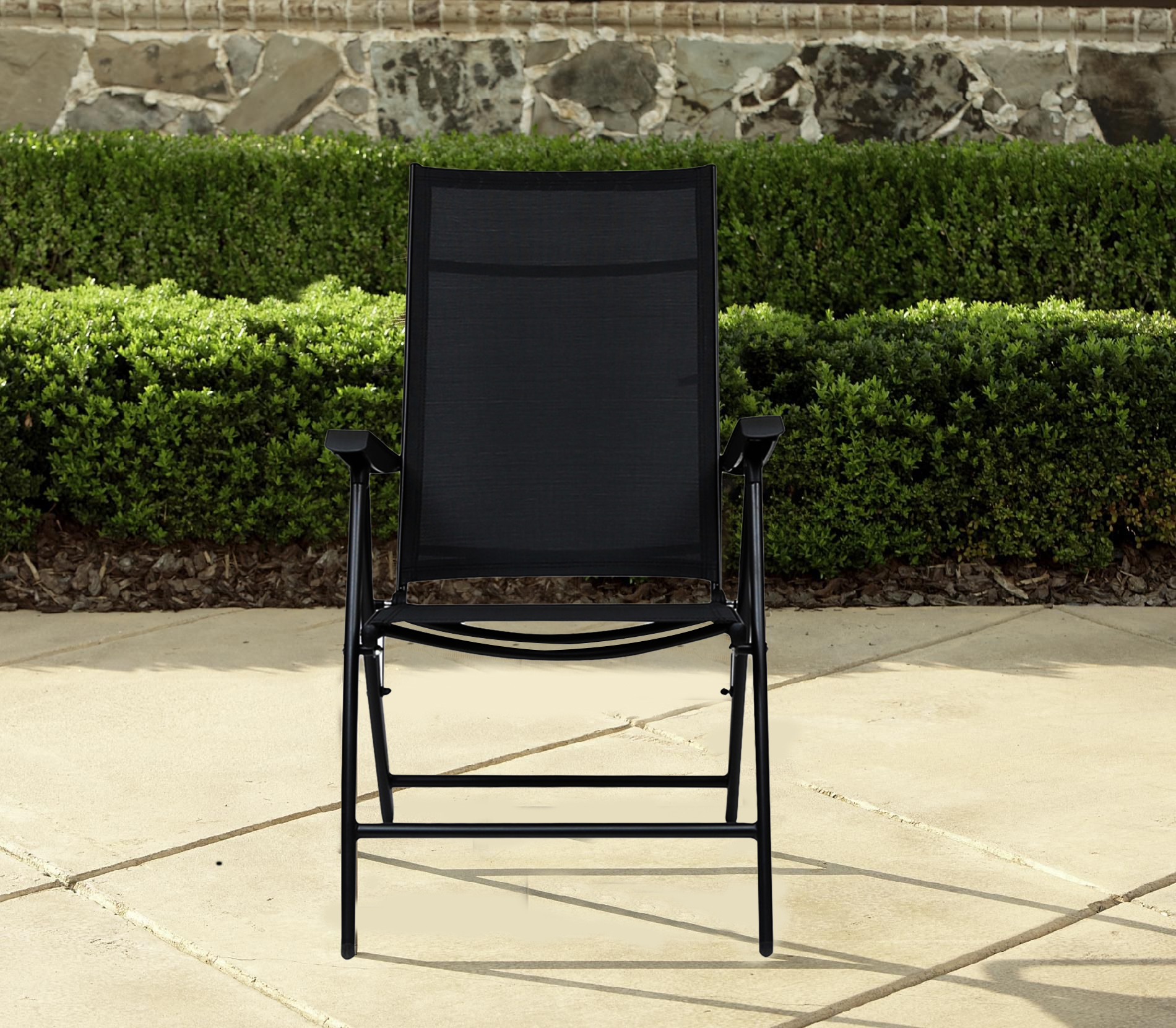 Jet Mild Steel Folding Chair in Black Colour by HomeTown
