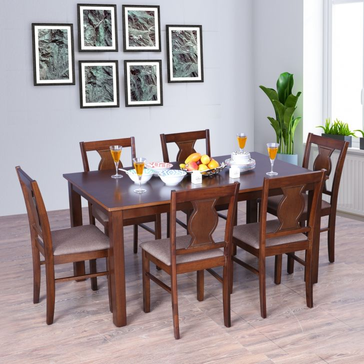 Artois Solid Wood Six Seater Dining Set in Antique Cherry Color by HomeTown