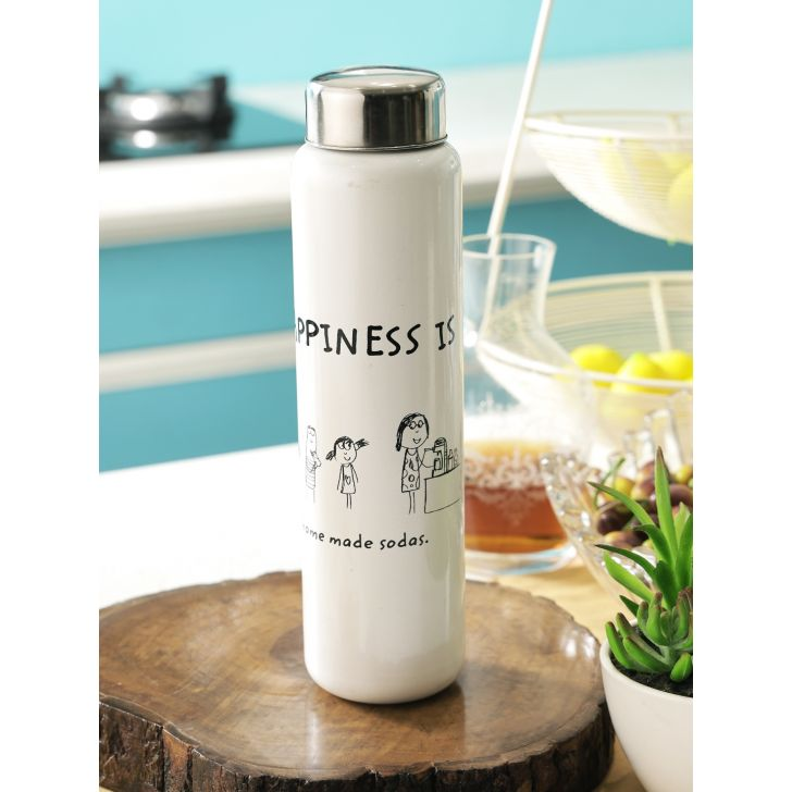 Happiness Hydra Sink Steel Bottle in White & Black Colour by Living Essence