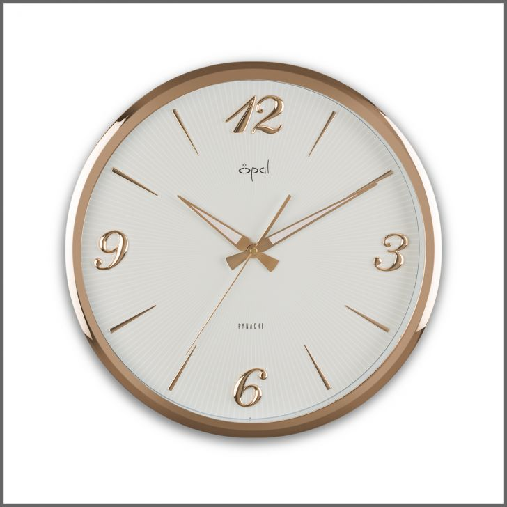 Opal White Wall Clock With Rose Gold Frame