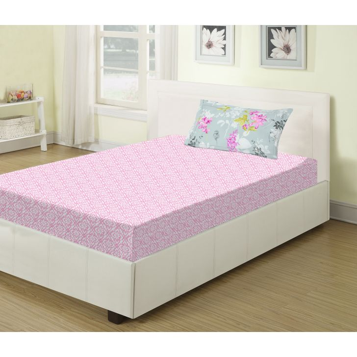 Emilia Cotton Single Bed Sheets in Pink Colour by Living Essence