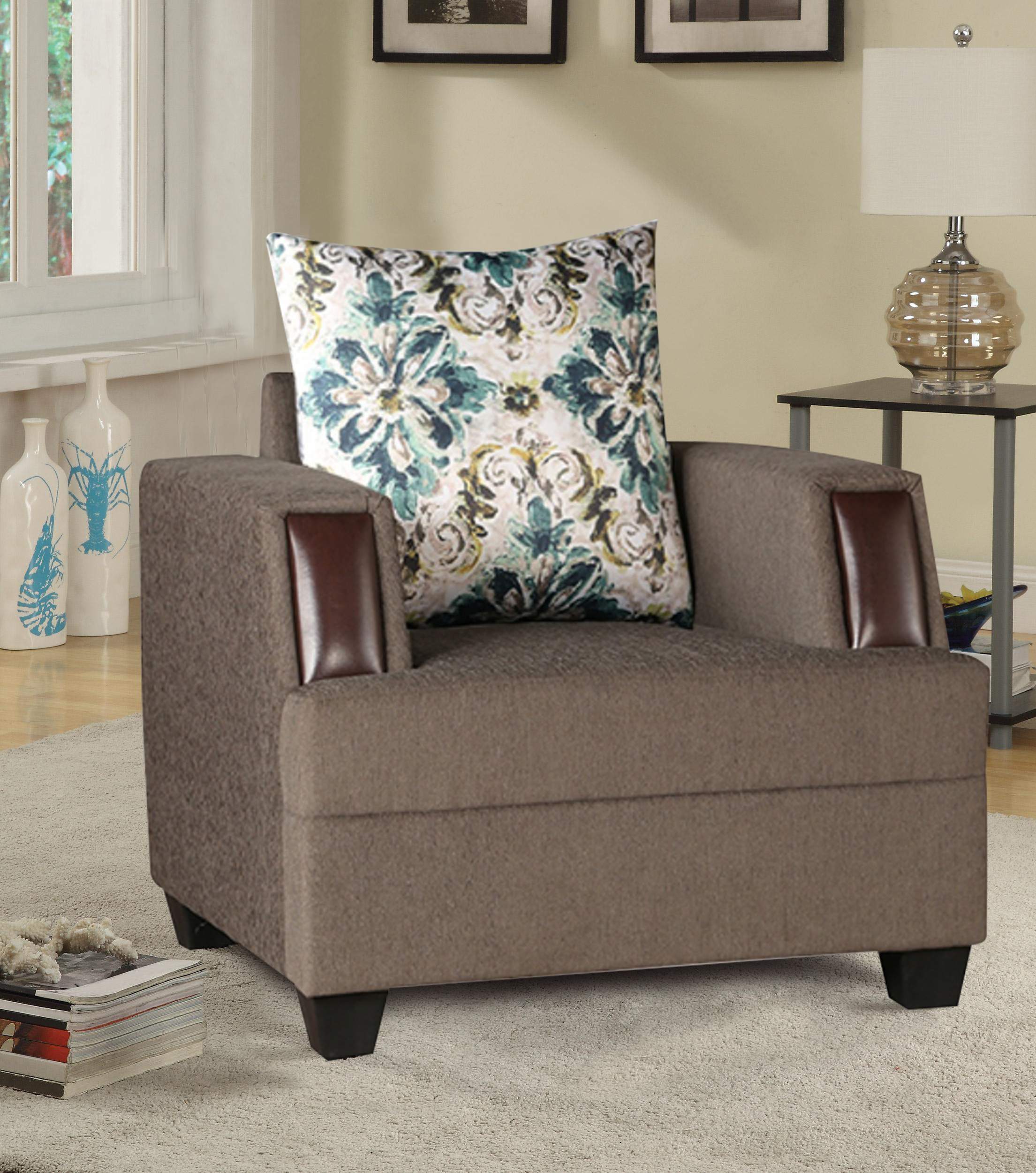 Elanza Fabric Single Seater sofa in Olive Colour by HomeTown