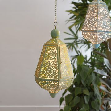 Hanging Metal Lantern in Green With Gold Strokes Colour