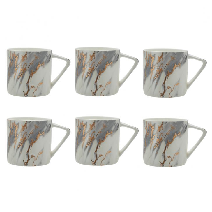 Marble Slate Set Of 6 Tea Mugs Ceramic Tea Mugs in Multi Color Colour by Living Essence