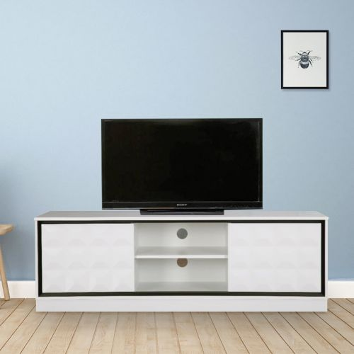Buy Giovanni Engineered Wood Tv Unit In High Gloss White Colour By