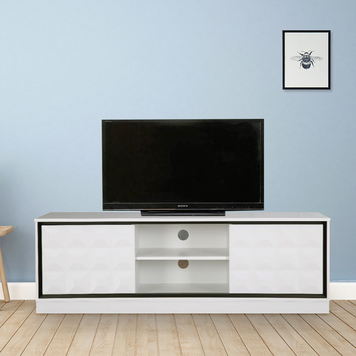 Giovanni Engineered Wood TV Unit in High Gloss White Colour by HomeTown