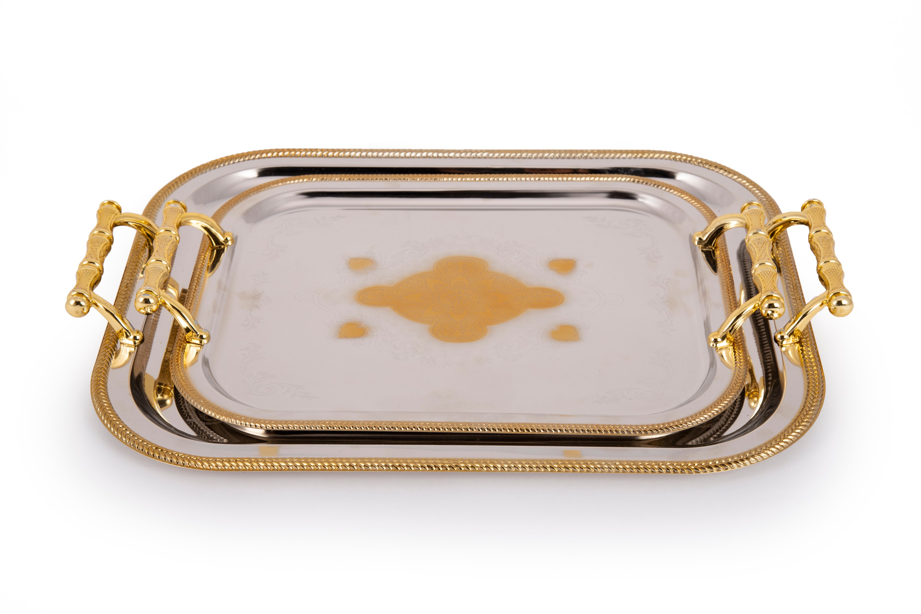 Savannah Set of 2 Stainless steel Trays in Silver & Gold Colour by Living Essence
