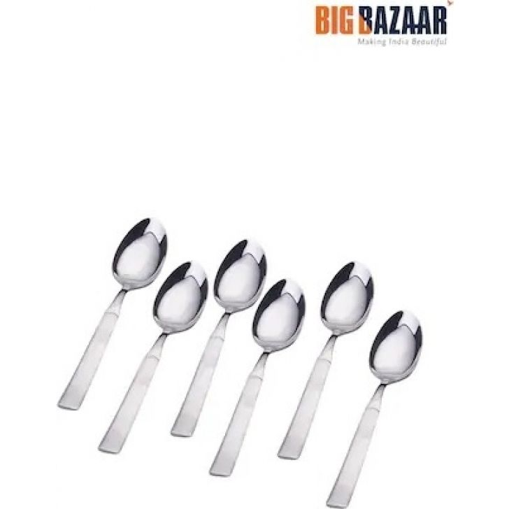 Feast Dessert Spoon (Set of 6) Stainless steel in Silver Colour by Shri & Sam