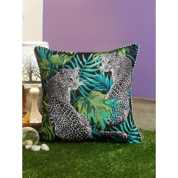 Digi Leopard Polyester Cushion Covers in Green Colour by Living Essence
