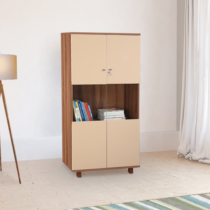 Chief Engineered Wood Book Shelf in Wallnut Bronze & Capuchino Colour by HomeTown