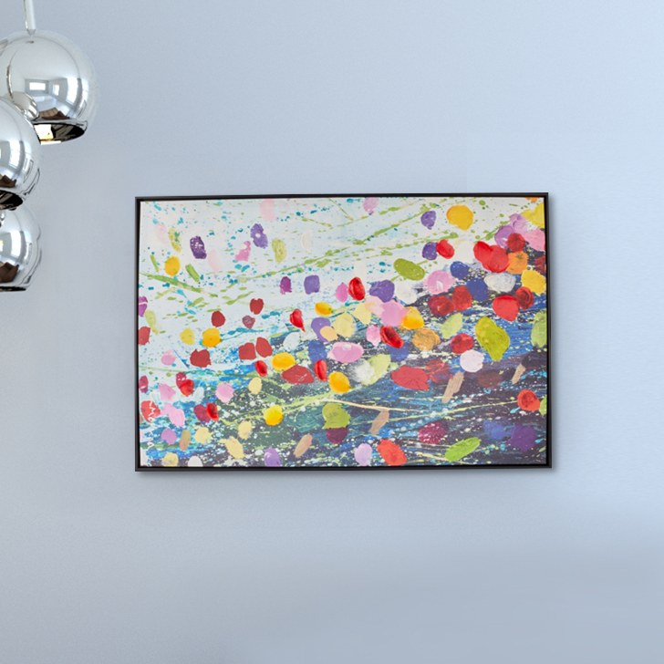 Craig Paintdrops Black Framed Painting Canvas Paintings in Multicolor Colour by Living Essence