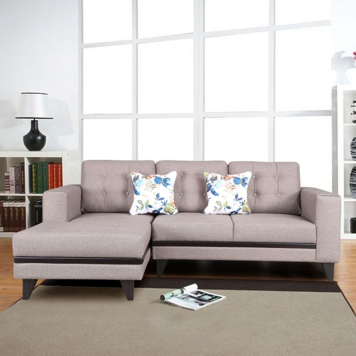 Garcia Fabric 3 Seater Sofa With Right Hand Side Lounger in Brown Colour