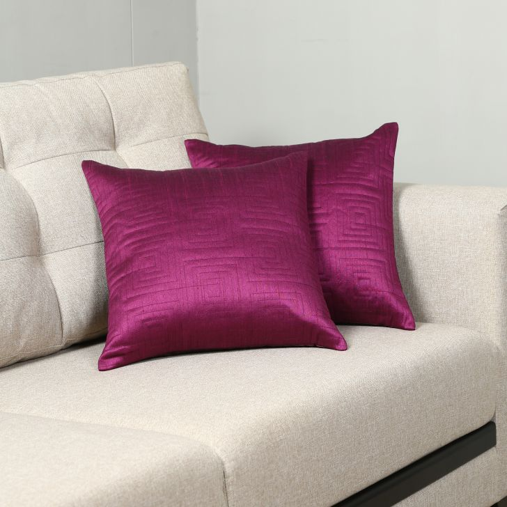 Carnival Dupion Set Of 2 Cushion Covers in Purple Colour
