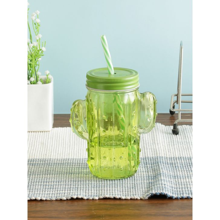 Glass Mason Jar with Straw in Green Colour by Living Essence