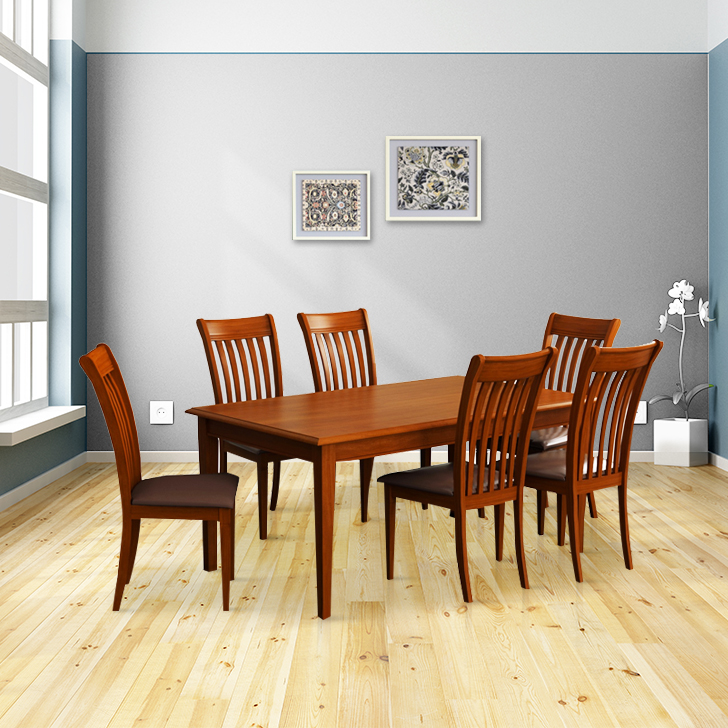 Linda Solid Wood Six Seater Dining Set in Walnut Colour by HomeTown
