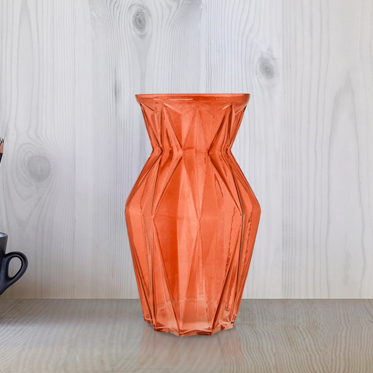 Marvela Colored Glass Vase Sprayed Rust Glass Vases in Rust Colour by Living Essence