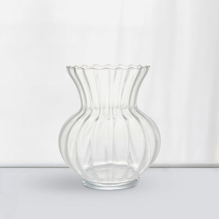 Nile Round Optic Glass Vase 24 Cm Glass Vases in CLEAR Colour by Living Essence