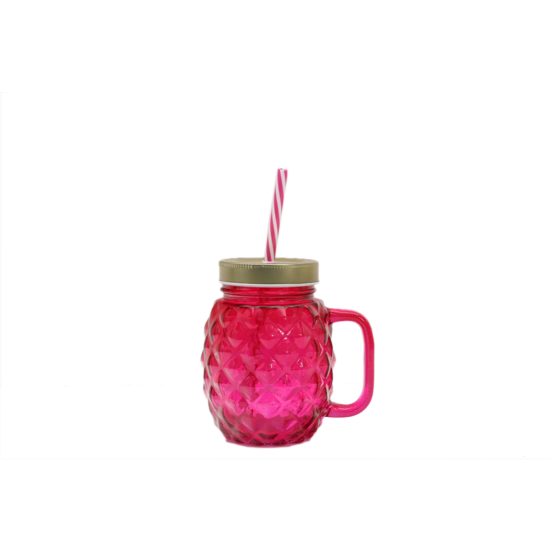 Pineapp Gold & Pink Juice Jar Glass Glass Bottles in Pink Colour by HomeTown
