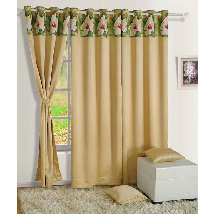 Solid Blackout Window Curtain In Beige Color By Swayam