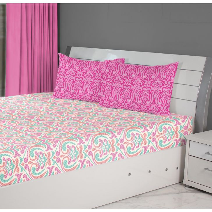 Fiesta Mosaic Cotton Double Bedsheets in Pink Colour by Living Essence