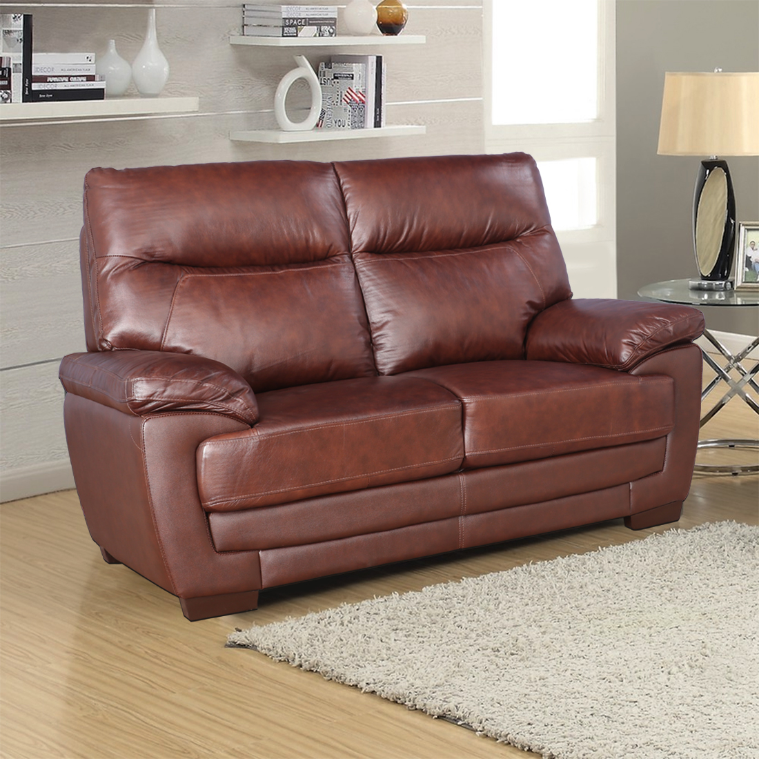 Jefferson Half Leather Two Seater Sofa in Brown Colour by HomeTown