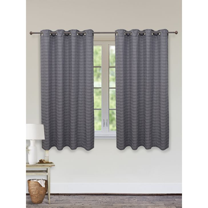 Fiesta Jacquard Set of 2 Cotton Window Curtains in Charcoal Colour by Living Essence