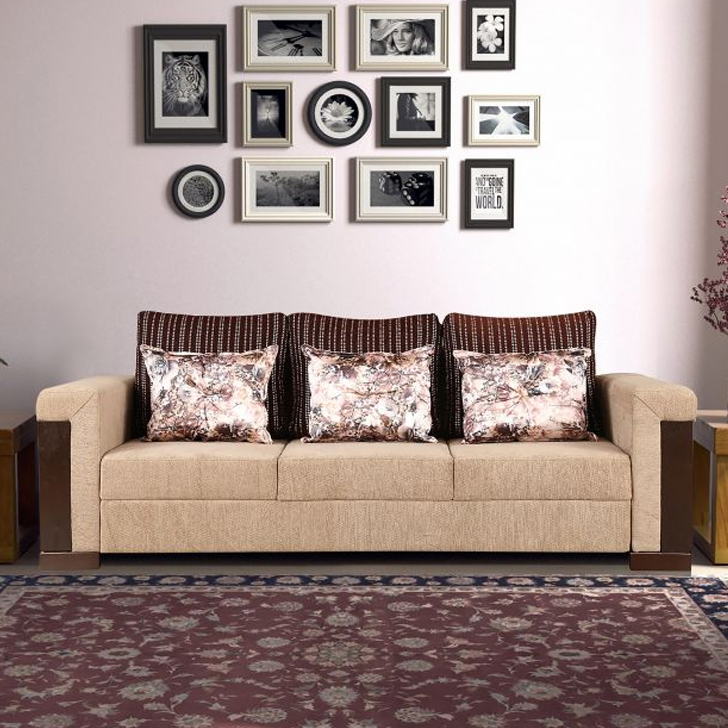 Amazon Royale Fabric Three Seater sofa in Beige Colour by HomeTown