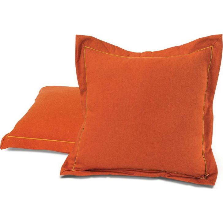 Solid Duck Fabric Cushion Cover 60X60 CM in Rust Colour by Swayam