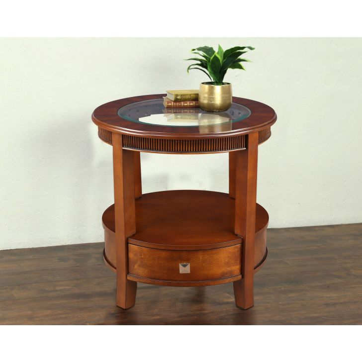 Zina Glass Top Side Table in Brown Colour