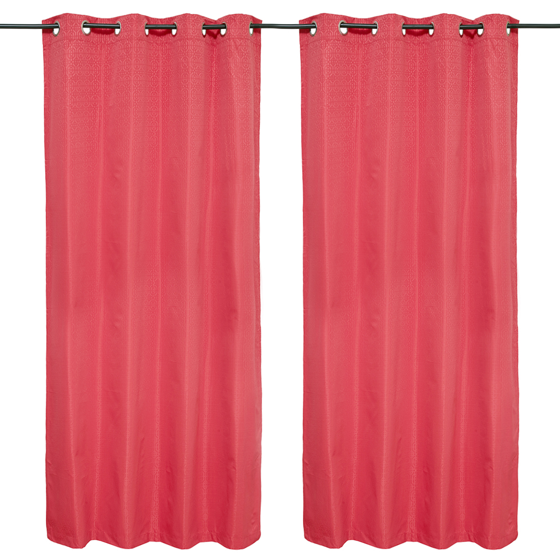 Emilia Jacquard set of 2 Polyester Door Curtains in Red Colour by Living Essence