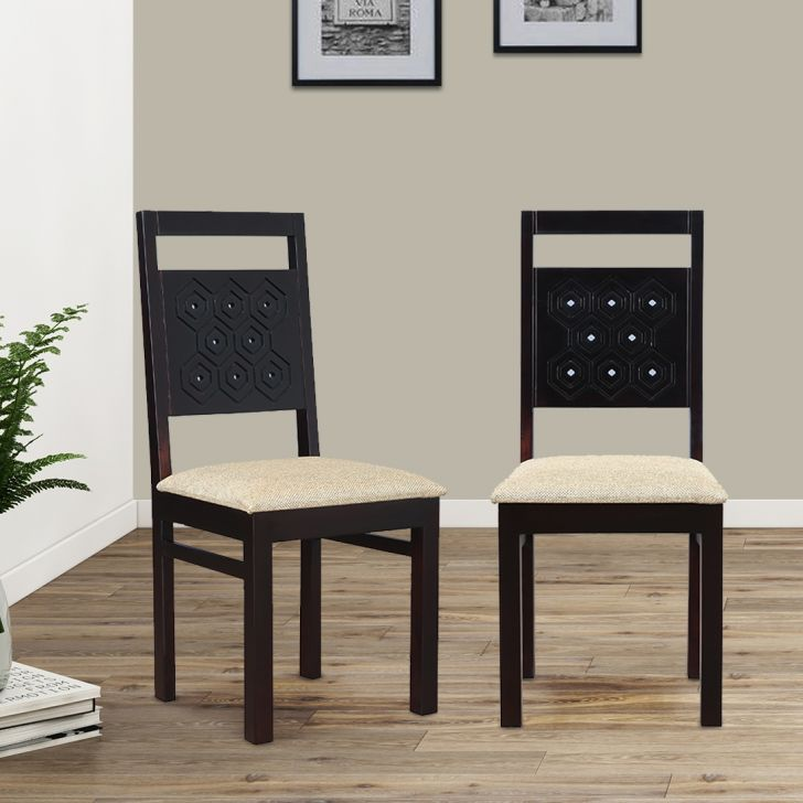 Hexa Solid Wood Dining Chair Set of Two in Walnut Colour by HomeTown