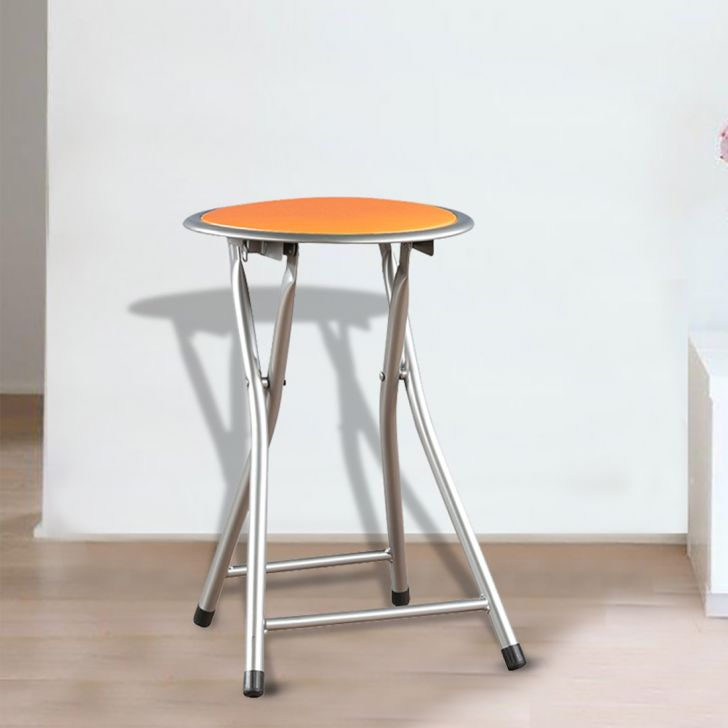 Dudo Metal Bar Chair and Stool in Orange Colour by HomeTown