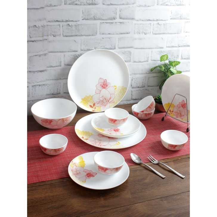 Living Essence Opalware 19 pcs Dinner Set in Multicolor Colour by Living Essence