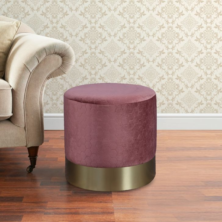 Fudgy Fabric Ottoman in Maroon Colour by HomeTown