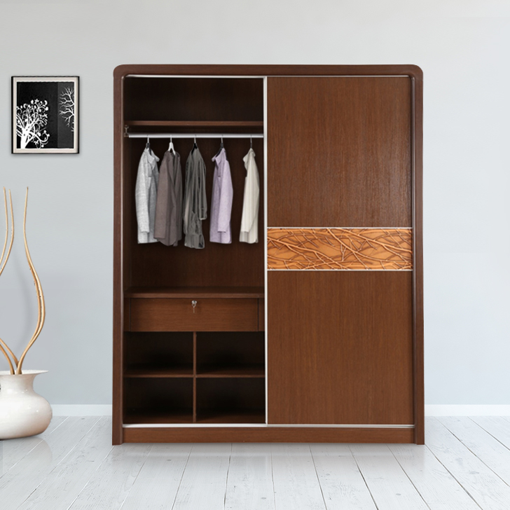 Venessa Engineered Wood Sliding Wardrobe in Dark Oak Colour by HomeTown