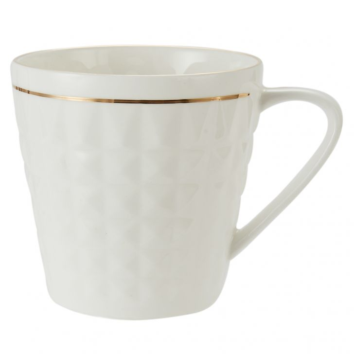 White Goldling Mug Diva 110 6 Pcs Ceramic Coffee Mugs in White Colour by Living Essence